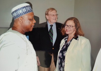 Gen Gusau, Mr Gregory Copley, ISSA President, and Ms Pamela von Gruber, ISSA Executive Director