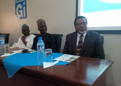 L-R Dr Haroun Adamu, Vice Chancellor Quirix from KASU, and Prof Nwankwo from NDA