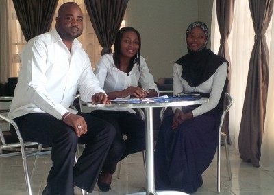Signing-in with NYSC Members Segun, Maria and Nafisa