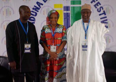 Moderator Kadaria Ahmed with Panelists Joseph Hayab and Dr. Usman Bugaje